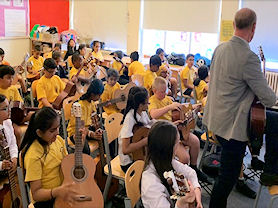 Children learning to play the guitars
